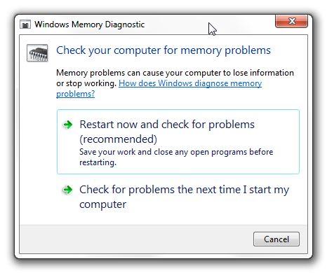 Opções de Diagnóstico de Memória do Windows