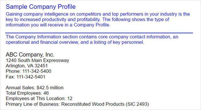 perfil da empresa da amostra