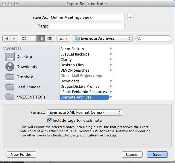 Arquivo de Evernote