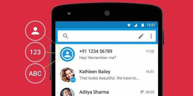 Identificar números desconhecidos e bloquear mensagens de texto de spam com truemessenger para android