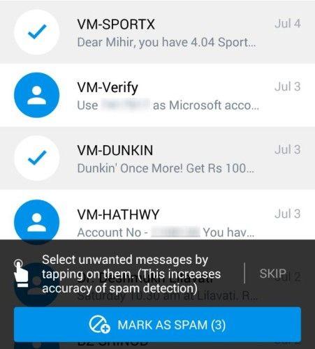 -Texto desconhecido-mensagens Truemessenger-identificar-filtro-spam-sms-primeiro-tempo-spam-exercício