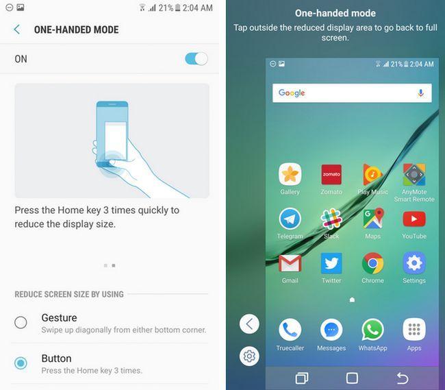 Samsung TouchWiz one-handed modo