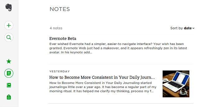 evernote-beta-mínima da interface