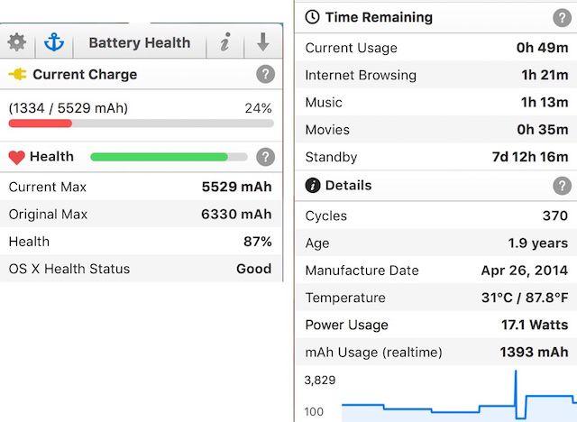 bateria de saúde