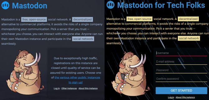 inscrição mastodonte rede social