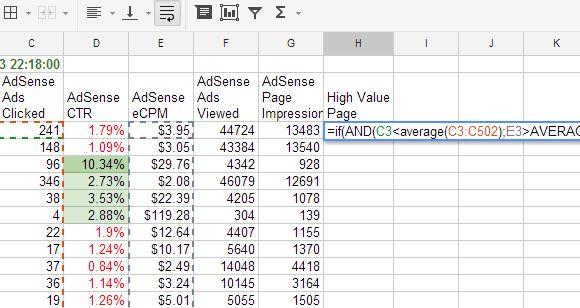 exemplos fórmula folha de cálculo do Google
