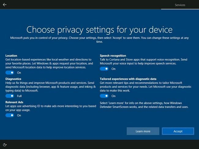Windows 10 criadores de privacidade