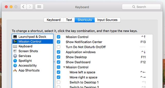 mac-preferências do atalho