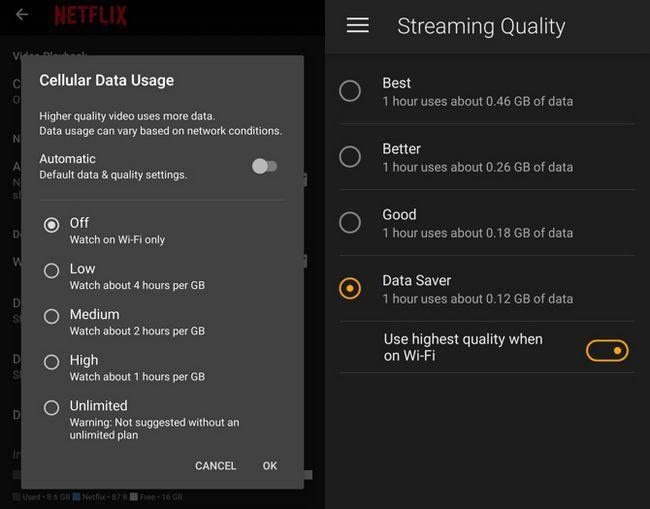 salvar streaming de vídeo móvel de dados