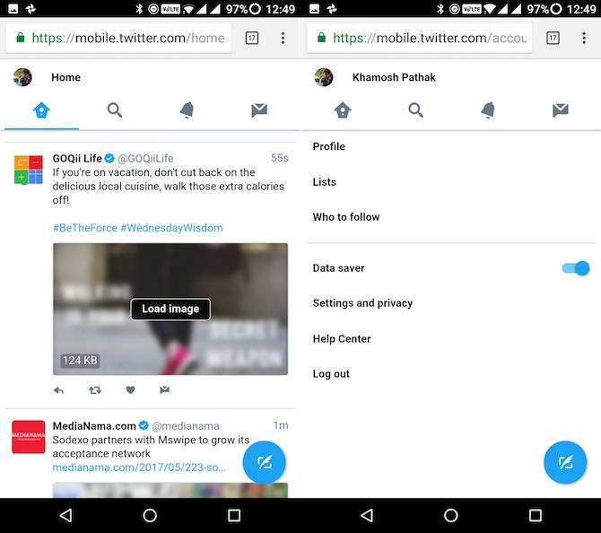 Lite apps Android Lite do twitter