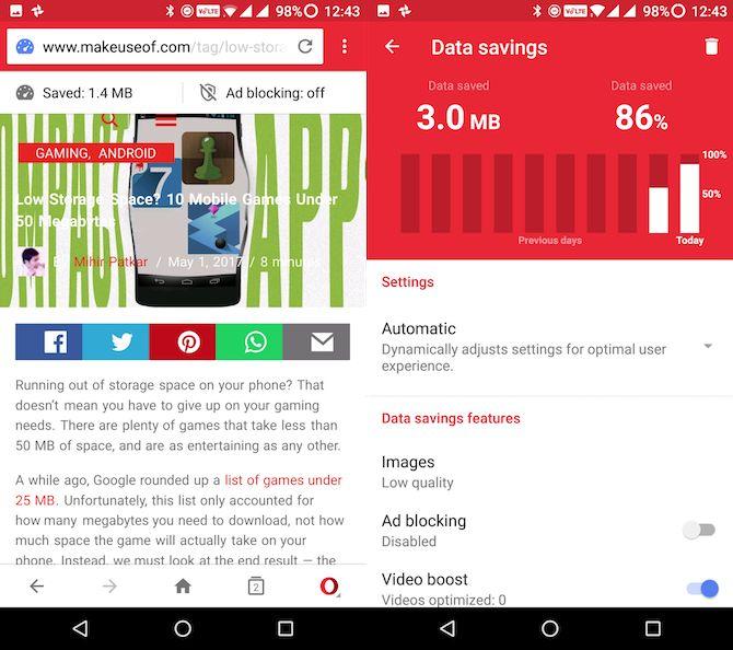 Lite apps Android mini-ópera