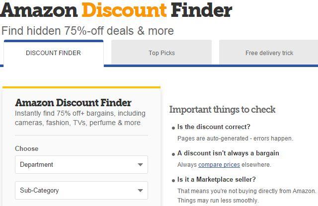 Amazon-desconto-Finder no Reino Unido