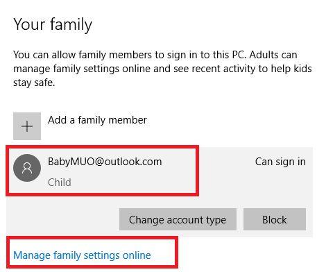 Windows 10 configurações da família adicionar sucesso e-mail criança
