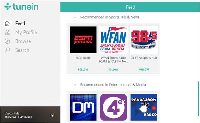 TuneIn Radio App janelas