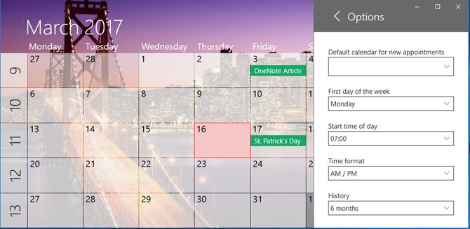 um calendário janelas aplicativo