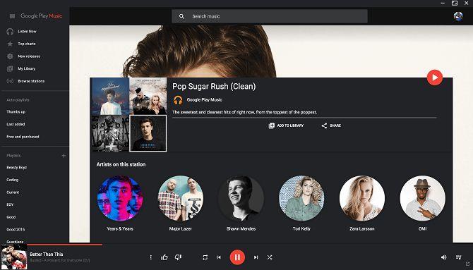 Google Play Music Desktop Player tema escuro