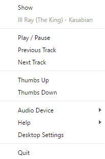 bandeja do sistema jogador de desktop reprodução de música do Google