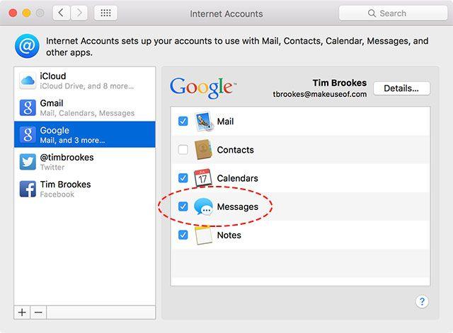 OS X Contas Preferências