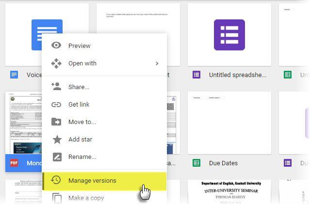 Gerenciar versões de arquivos no Google Drive