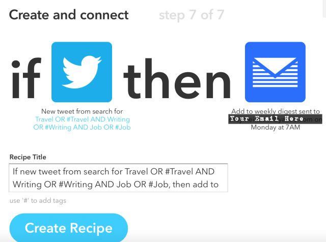 Se o Twitter depois receita Email Job