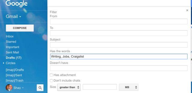 filtro de e-mail gmail