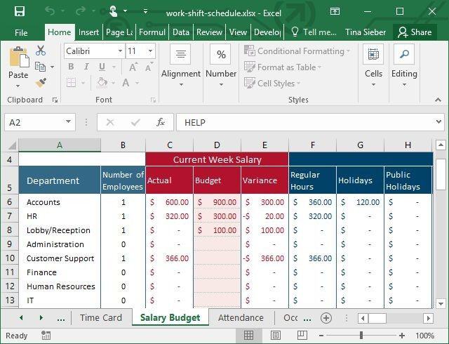 Template Excel turno de trabalho