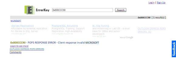 códigos de erro Microsoft