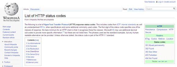 códigos de erro http