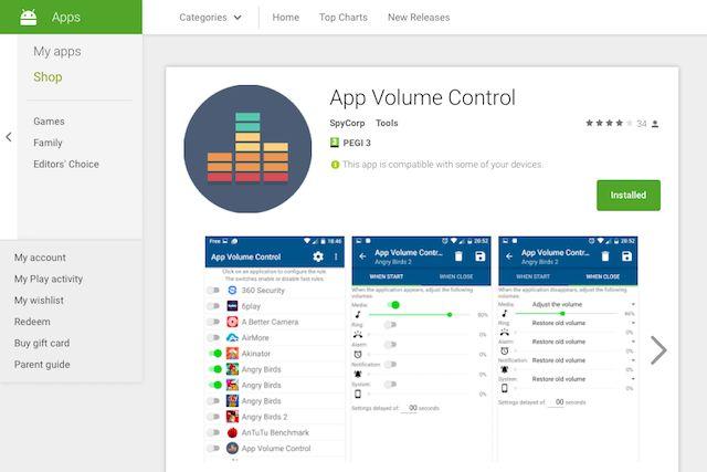 controlo de volume app