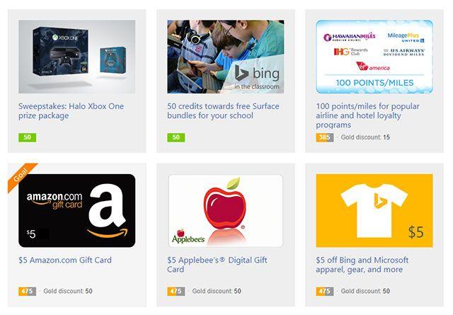Prémios Bing-recompensas-redimir