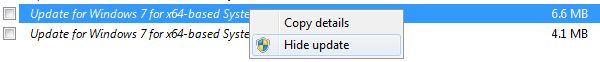Esconder Windows Update