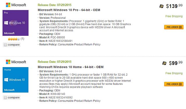 Newegg Windows 10 Leak 1
